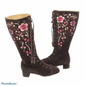 CarShoe by Prada brown suede embroidered boots